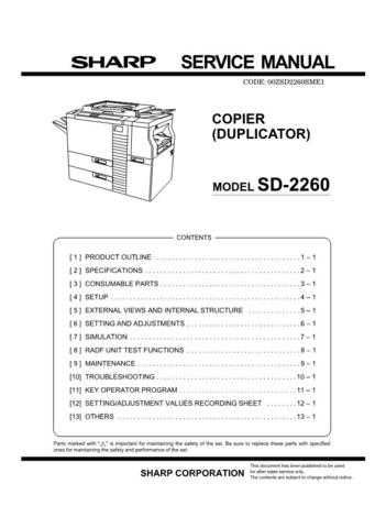 Sharp SD2260 Service Manual by download Mauritron #210395