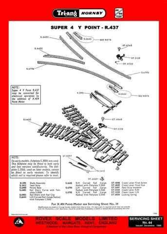 Triang Tri-ang No.044 Super 4 Y Point R437 Service Sheets by download Mauritron