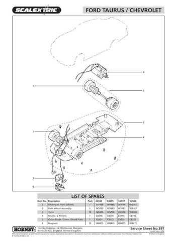 Scalextrix No.397 Ford Taurus Chevrolet Service Sheets by download Mauritron #2
