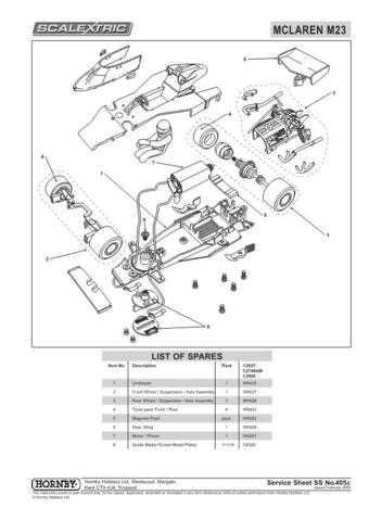 Scalextrix No.405C Mclaren M23 Service Sheets by download Mauritron #206564