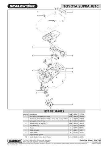 Scalextrix No.392 Toyota Supra JGTC Service Sheets by download Mauritron #20654