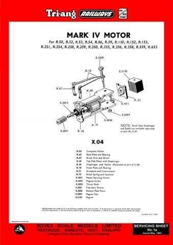 Triang Tri-ang No.001A Mark IV (X04) Motor Service Sheets by download Mauritron