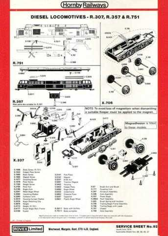 Hornby No.092 Diesel Loco Service Sheets by download Mauritron #206809
