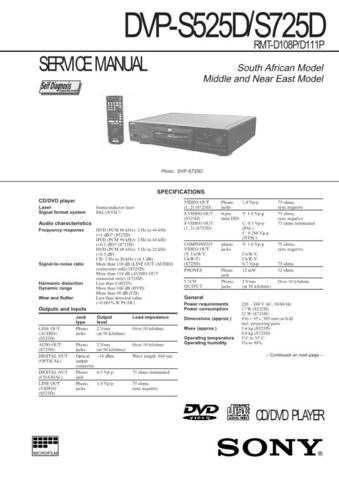 SONY DVP-S7700 Technical by download #104897