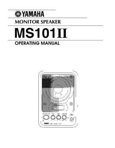Yamaha MS101IIE Operating Guide by download Mauritron #248821