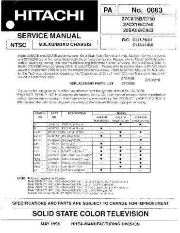 Hitachi 27CX21B Service Manual Schematics by download Mauritron #205710