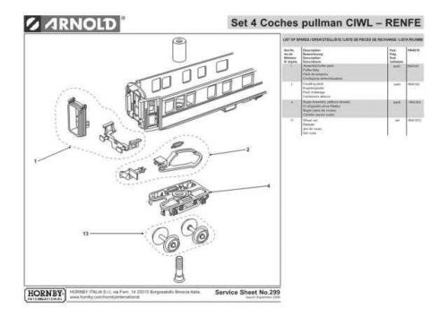 Arnold No.299 Set 4 Coches pullman CIWL - RENFE HN4018 Information by download