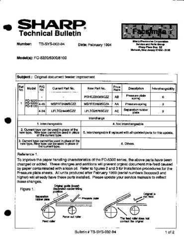 SHARP TBS00294 TECHNICAL BULLETIN by download #104549