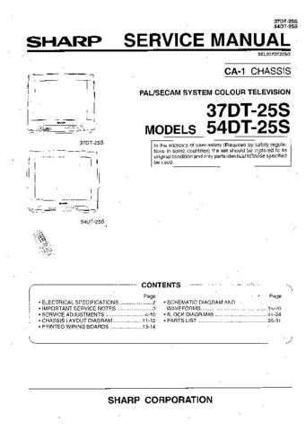 Sharp 37DT25S-54DT25S (1) Service Manual by download Mauritron #207789