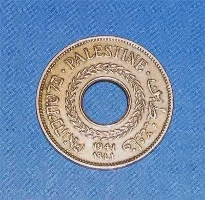 Israel Palestine 5 Mils 1941 Coin XF Key Date