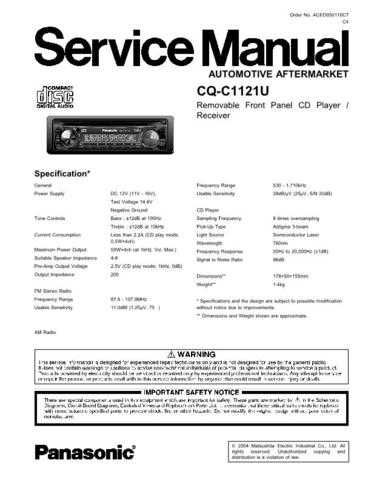 Panasonic CR14 Service Manual with Schematics by download Mauritron #266473