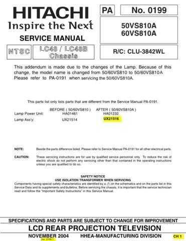 Hitachi 50VS810A Service Manual Schematics by download Mauritron #205858