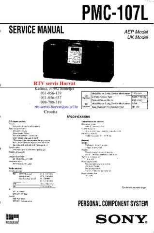 SONY PMC107L Technical Info by download #104827