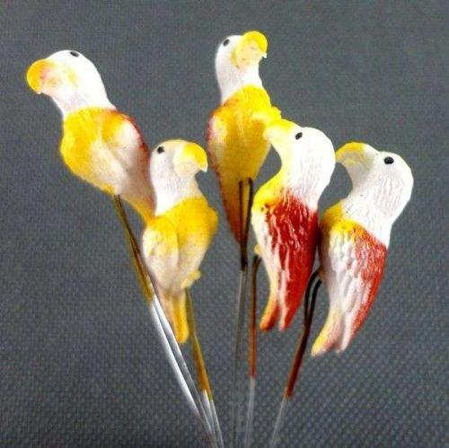 10 MINIATURES HAWK BIRDS BROWN ANIMAL GARDEN STAKES TERRARIUM DECOR