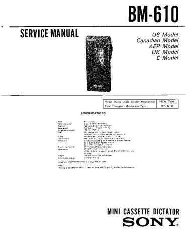 Sony BM-610 Manual by download Mauritron #228938