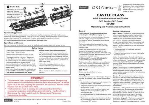 Hornby 4-6-0 Castle Class Maintenance Sheets by download Mauritron #206675