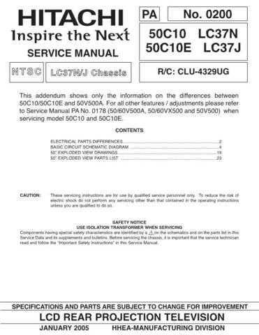 Hitachi 50C10E Service Manual Schematics by download Mauritron #205803