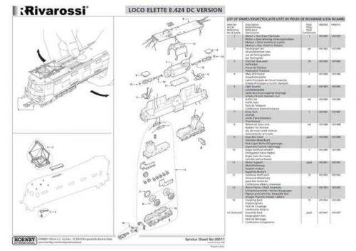 Rivarossi No.00011 Electric Loco E424 DC Service Sheets by download Mauritron #