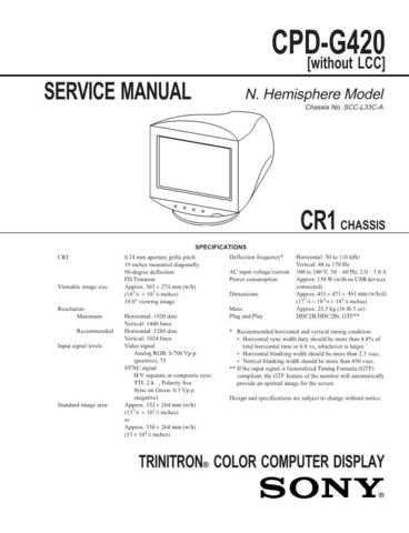 SONY GDM-F400 Technical by download #104950