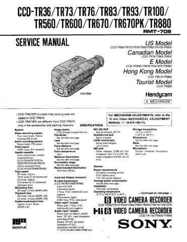 Sony CCD-TR36 Service Manual by download Mauritron #237104