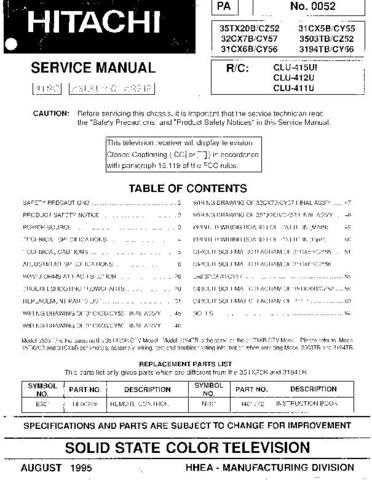 Hitachi 32CX7B Service Manual Schematics by download Mauritron #205757