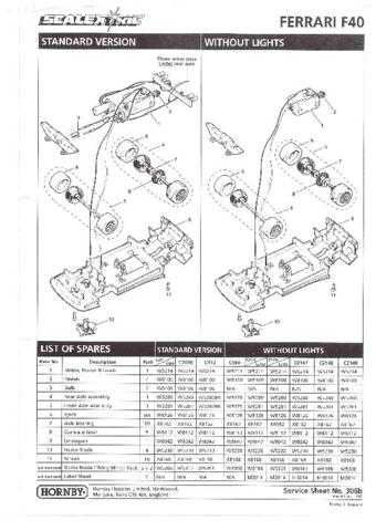 Scalextrix No.306B Ferrari F40 Service Sheets by download Mauritron #206365