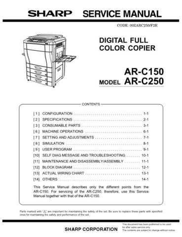 Sharp ARC170M PG GB Service Manual by download Mauritron #208178