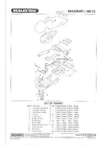 Scalextrix No.372B Maserati MC12 Service Sheets by download Mauritron #206508
