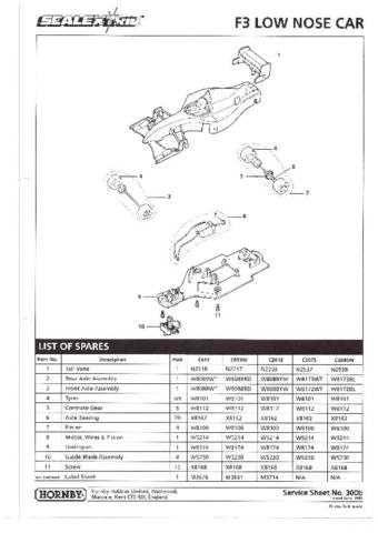 Scalextrix No.300B Formula 3 Car Service Sheets by download Mauritron #206352