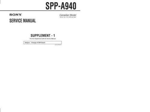 SONY SPP-ID970 Technical Info by download #105224