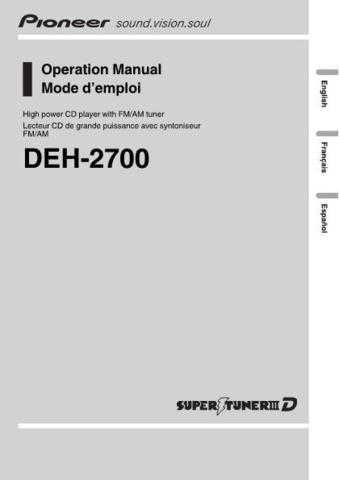 Pioneer 155246906DEH-2700 Operation MANUAL by download Mauritron #223233