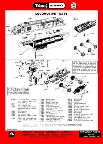 Triang Tri-ang No.045 Loco R751 Service Sheets by download Mauritron #206247
