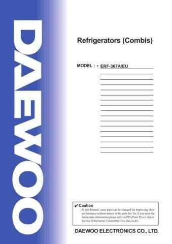 Daewoo. SM_ERF-367AS_(E). Manual by download Mauritron #213539