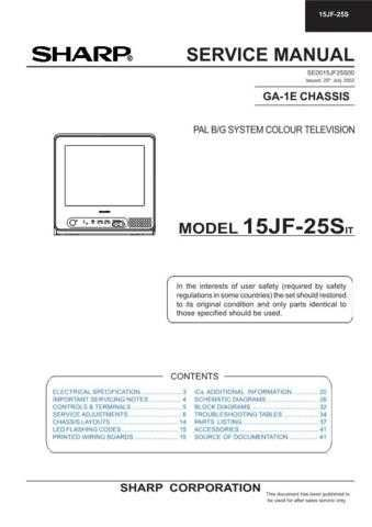 Sharp 15JF25S Service Manual by download Mauritron #207379