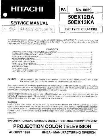 Hitachi 50EX12BA Service Manual Schematics by download Mauritron #205810