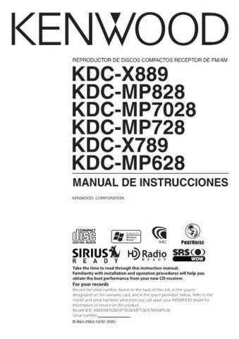 Kenwood KDC-MP858 Operating Guide by download Mauritron #222089