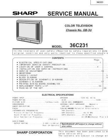 Sharp 36C231 Service Manual by download Mauritron #207764
