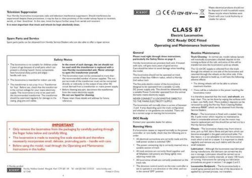 Hornby Class 87 Maintenance Sheets by download Mauritron #206714