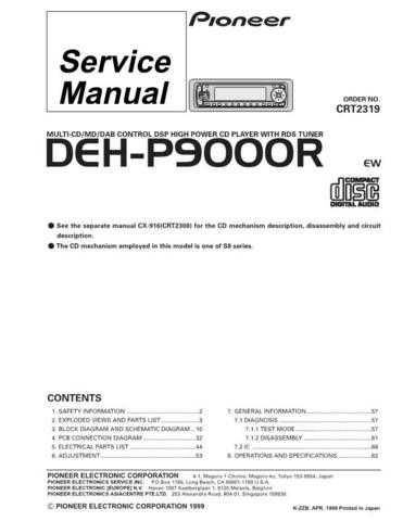 Pioneer DEH-P9000R-1 Service Manual by download Mauritron #233800