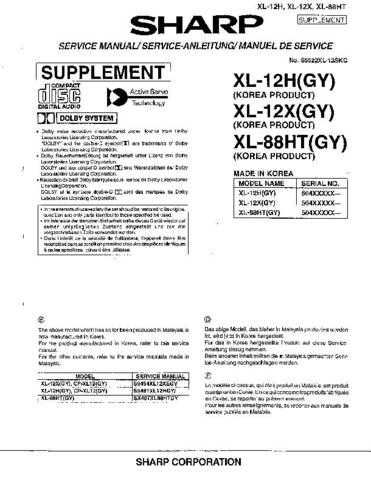 Sharp XL12H-X-88HT SM SUPPLEMENT GB-DE-FR Service Manual by download Mauritron