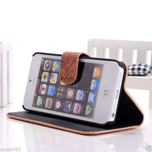 NEW MAP DESIGN HIGH QUALITY FLIP STAND LEATHER CASE COVER FOR APPLE IPHONE 5