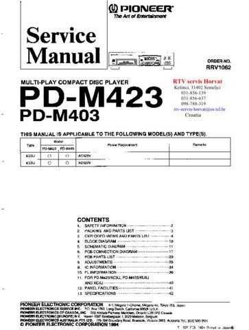 PIONEER PDM423 PDM403 RRV1062 Technical Information by download #119335