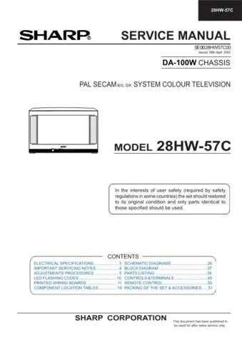 Sharp 28HW57C (1) Service Manual by download Mauritron #207537