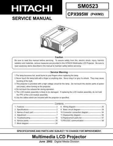 Hitachi CPX995W Service Manual by download Mauritron #261179
