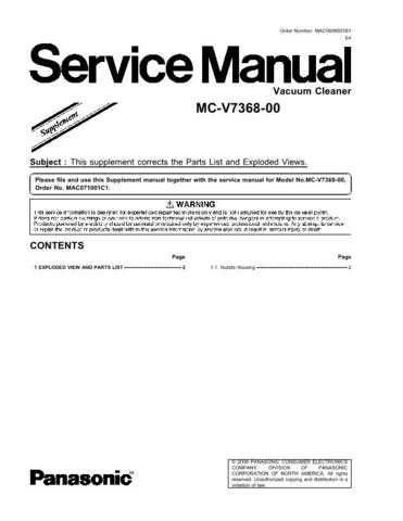 Panasonic MAC0803006CE Service Manual by download Mauritron #267615