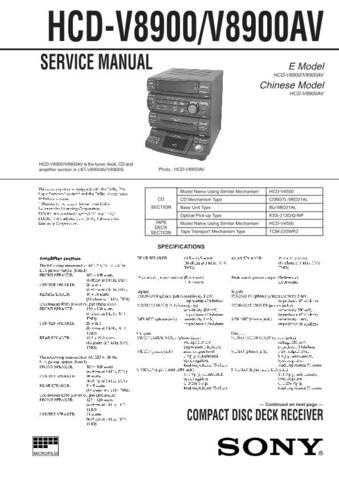 SONY HCD-VR90AV Technical by download #104969