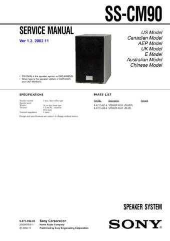 Sony SS-CHPZ7CHPZ9 Service Manual. by download Mauritron #244660