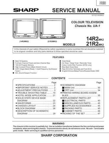 Sharp 14R2-21R2MK2 Service Manual by download Mauritron #207362