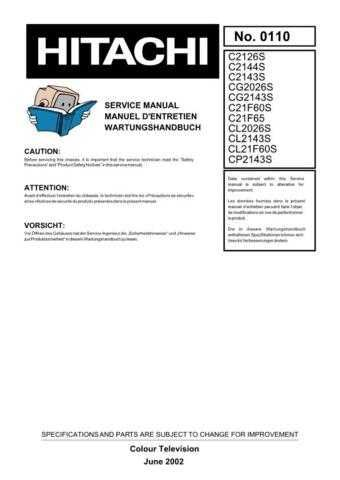 Hitachi CG2143 Service Manual by download Mauritron #263498