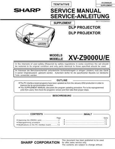 Sharp XVZ9000 SUPPLEMENT Service Manual by download Mauritron #207715